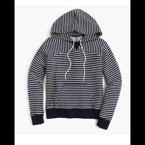 J Crew Paneled terry hoodie, Navy and White stripe